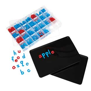 Large Black Magtivity Tins And Coded Plastic Magnetic Letters - Classroom Kit