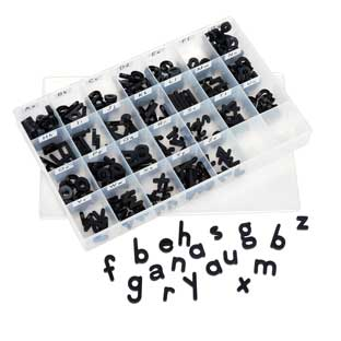 EZread Black Plastic Magnetic Lowercase Letter Kit  240 Letters