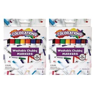 Colorations Chubby Markers, 2 Packs of 8 Markers, Total 16, 8 Colors