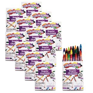 Colorations Regular Crayons, Set of 24 Colors, 12 Packs
