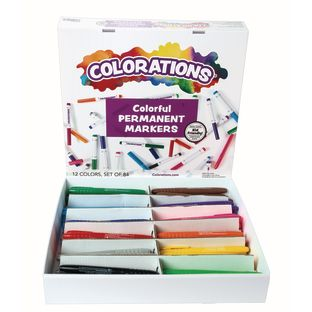 Colorations Permanent Marker Classroom Pack - 84 Pieces