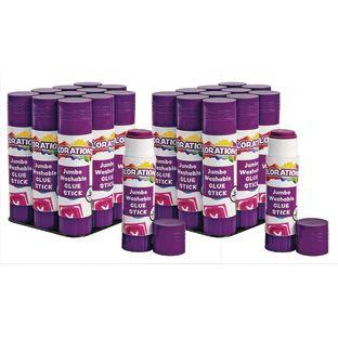 Colorations Jumbo Washable Purple Glue Sticks, Set of 24, 1.41 oz each