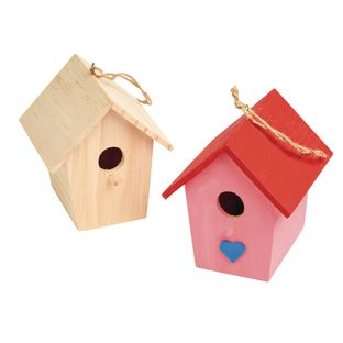 Colorations Wooden Birdhouses - Set of 6
