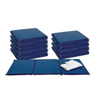 "1"" Best Value Tri- Fold Rest Mat - Blue, Set of 10"
