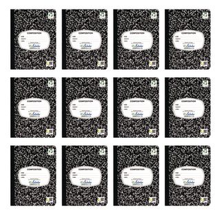 Writing Journal, 100 Sheets, Marble Black – Set of 12