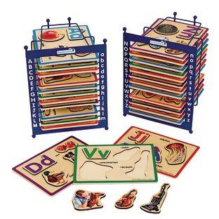 Alphabet Puzzle Set of 26 with 2 Anti-Slide Puzzle Storage Racks