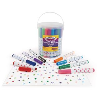 Colorations® Washable Marker Stamper Bucket - 44 Pieces