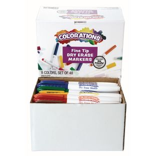 Colorations® Dry Erase Markers Fine Tip - Set of 48