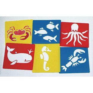 Sea Life Washable Plastic Stencils - Set of 6