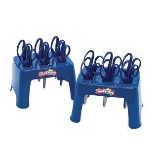 Set of 12 Plastic Scissors and 2 Scissor Holders