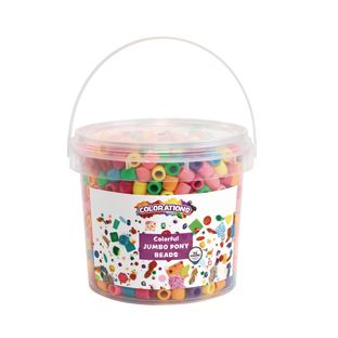 Colorations® Colorful Jumbo Pony Beads - 1.5 Pounds