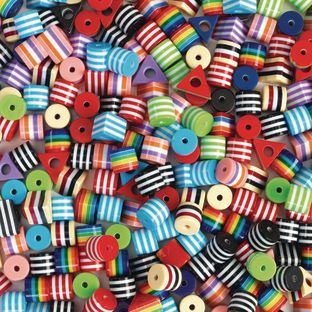 Colorations Round and Triangle Stripped Plastic Beads - set of approx 500, 11.6 oz