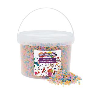 Colorations Fluorescent Fuse Beads and 6 Pegboards in a Bucket - 22,000 Beads