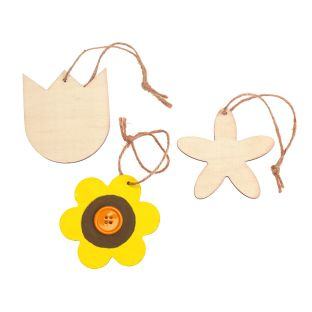 Colorations DYO Wooden Flower Ornaments, Set of 12