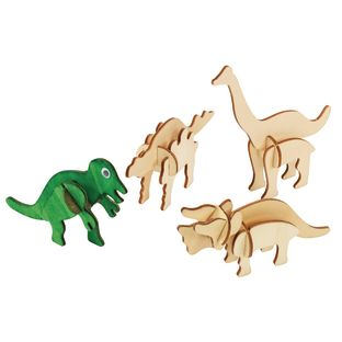 Colorations DYO Craft - 3D Wooden Dinosaur Puzzles, Set of 4 Designs