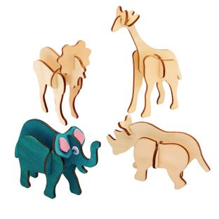 Colorations Decorate Your Own 3-D Wooden Jungle Animal Puzzles, Set of 4 Designs