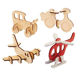 Colorations Decorate Your Own 3-D Wooden Vehicle Puzzles, Set of 4 Designs