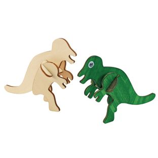 Colorations Decorate Your Own 3-D Wooden Dinosaur Puzzles, Set of 4 Designs with Paint and Brushes
