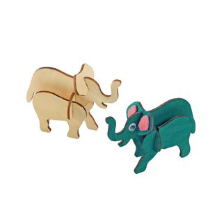 Colorations Decorate Your Own 3-D Wooden Jungle Animal Puzzles, Set of 4 Designs with Paint and Brushes