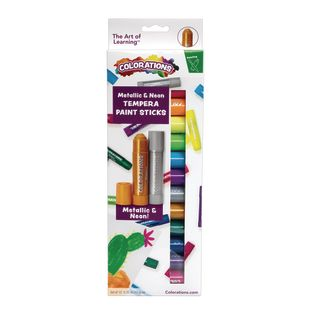Colorations Metallic and Neon Tempera Paint Sticks, Set of 12