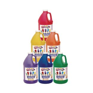 Colorations® 1/2 Gallon Simply Washable Tempera Paint, Rainbow set of 6 Colors