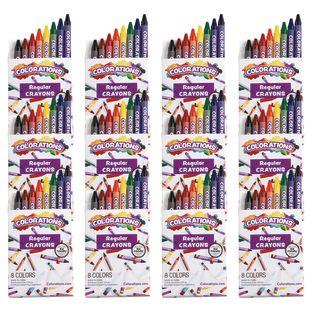 Colorations® Regular Crayons, 8 Colors, 12 Sets, TTL 96 Crayons