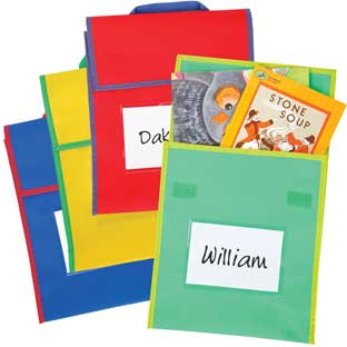"Store More Medium Book Pouches – Send Home Books and Homework in Durable Fabric Book Bag – Stitched-On Handle, Clear Name Tag Pocket, Primary Colors, 10""x1""x12"" Set of 4"