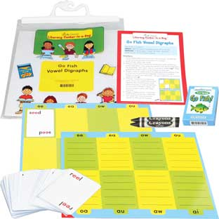 Go Fish Vowel Digraphs Literacy Center - Grades 2-3 - 69 pieces