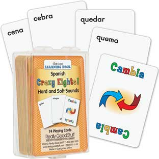Spanish Crazy Eights! Hard and Soft Sounds (Sonidos suaves y duros) - 74 cards