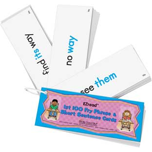 EZread 1st 100 Fry Phrase  Short Sentence Cards - 100 cards