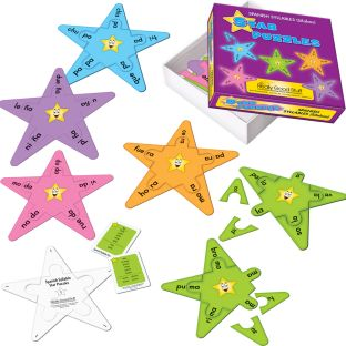 Spanish Syllable Star Puzzles - 20 puzzles, 10 answer keys