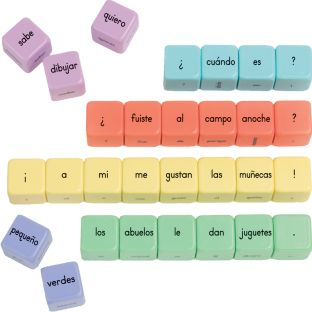 Spanish Build-A-Sentence Cubes (Bloques forma oraciones) - 54 cubes