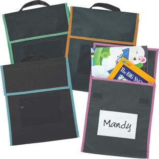 Store More® Medium Book Pouches - Black With Neon Trim - Set Of 4