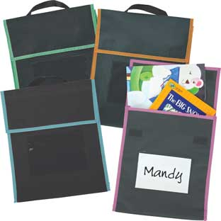 Store More® Medium Book Pouches - Black With Neon Trim - Set Of 36