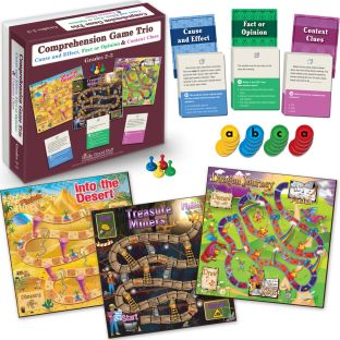 Comprehension Game Trio: Cause And Effect, Fact Or Opinion and Context Clues - Grades 2-3