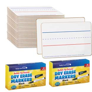 "Mini Non-Magnetic 9""x 6"" 2-Sided Blank And Lined Dry Erase Boards - 24-Student Pack"