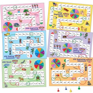 Short Vowel Pattern Word Building Board Games - 1 game