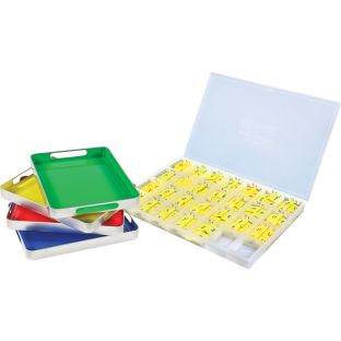 MAGtivity Tins With Soft Touch™ Magnetic Foam Letter Tiles Classroom Kit - 240 letters, 1 case, 4 tin trays