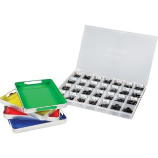 MAGtivity Tins With Black Plastic Magnetic Letters Classroom Kit