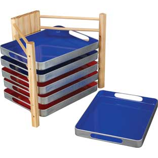 Really Good MAGtivity™ Tins Storage Rack With Red And Blue MAGtivity™ Tins