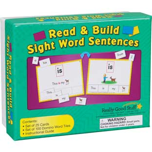 Read And Build Sight Word Sentences - 25 cards, 100 tiles
