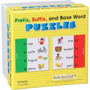 Prefix, Suffix, And Base Word Puzzles - 24 puzzles