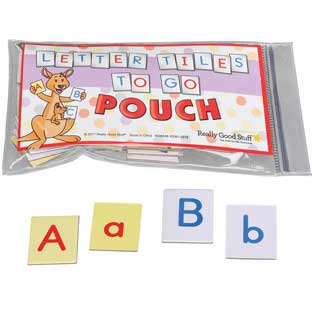 Letter Tiles To Go Pouches - 6 sets of tiles with pouches