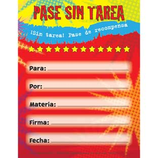 Pase de Recompensa Sin Tarea (Spanish No Homework Reward Pad)