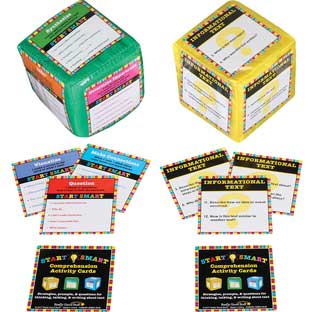 Start Smart Comprehension Activity Cards And Cubes Kit - 30 cards, 3 cubes