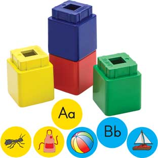 Alphabet Stickers And Jumbo Unifix® Cubes