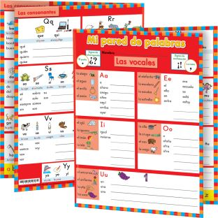 Mi pared de palabras: K (My Spanish Word Wall Grade K) - 12 folders