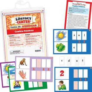 Centro de aprendizaje™: Cambia-Palabras (Spanish Change-AWord) - 1 literacy center