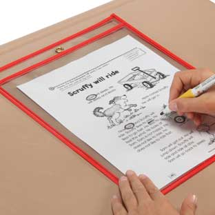 "Top-Loading Dry Erase Sleeves - 10"" x 13"" - Set of 4 - Multicolor: Red, Blue, Yellow, & Green"