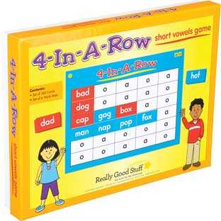4-In-A-Row: Short Vowels Game - 6 mats, 360 cards